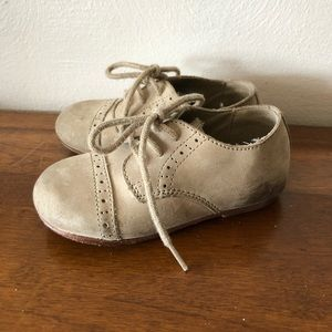 Tan Suede Janie & Jack Wing Tip Oxford 7 toddler